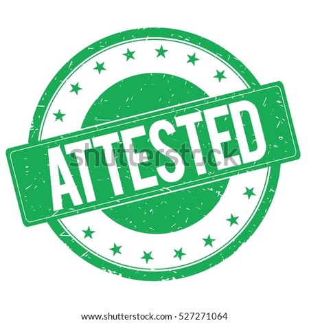 ATTESTED stamp sign text word logo green.