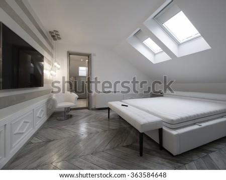 Attic apartment bedroom - stock photo
