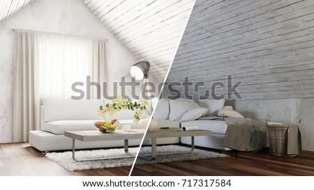 Attic Living Room Interior Design Day And Night Concept 3D Rendering