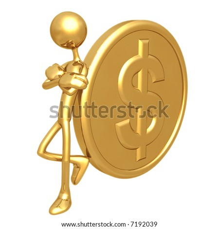 Attitude Lean Gold Dollar Coin - stock photo