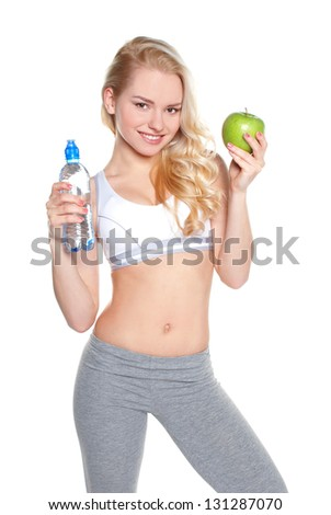 Attractiva Fitness girl isolated on the white - stock photo