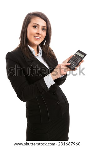 Attractive accountant with calculator - stock photo