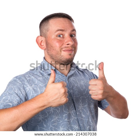 Attractive adult man with stubble in summer shirt that shows gesture okay on an isolated white background