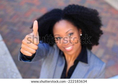 Attractive African American Business Professional Business Woman Thumbs Up Approval - stock photo