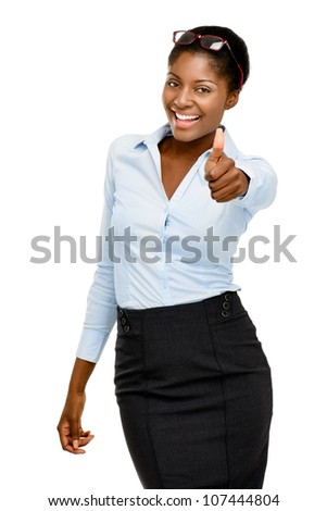 Attractive African American businesswoman thumbs up on white background - stock photo