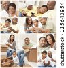 Attractive African American family and couple mother, father, son, man and woman at home having fun relaxing, eating, sitting, smiling, drinking wine, unpacking or packing boxes - stock photo