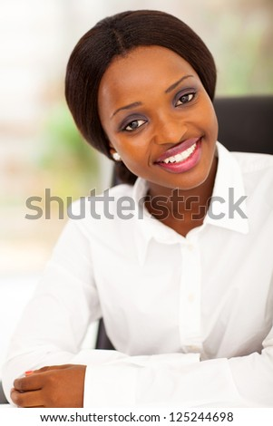 attractive african american office worker portrait - stock photo
