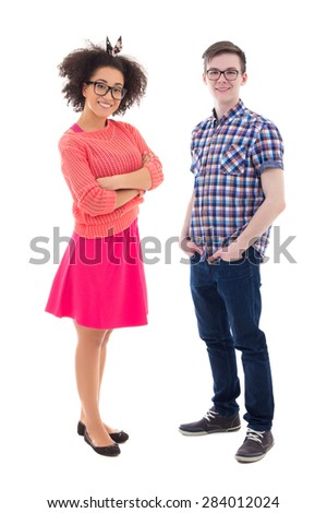 attractive african american teenage girl and handsome caucasian boy isolated on white background - stock photo