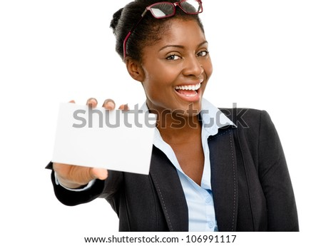 Attractive AFrican American woman holding white placard isolated on white background