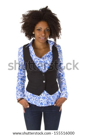 Attractive african american woman posing - isolated on white background - stock photo