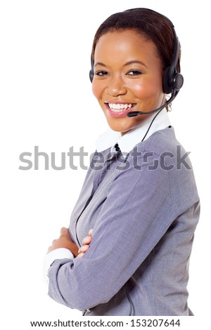 attractive african business call center operator - stock photo