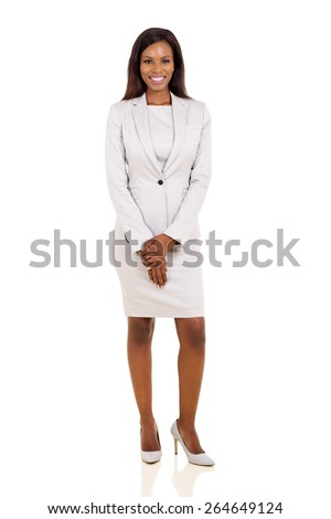 attractive african businesswoman in a suit isolated on white background - stock photo