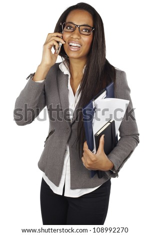 attractive african businesswoman with mobile phone isolated - stock photo