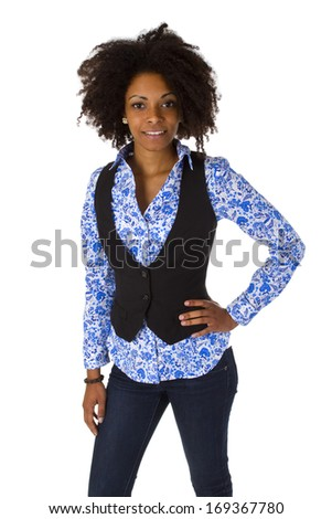 Attractive african woman isolated on whtie background - stock photo