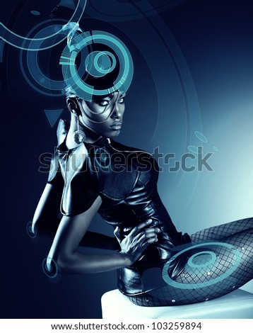 Attractive african woman with hologram - stock photo
