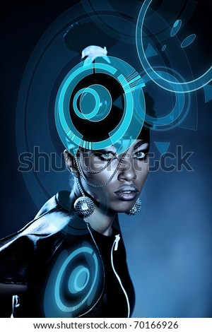 Attractive african woman with shiny hologram on head - stock photo