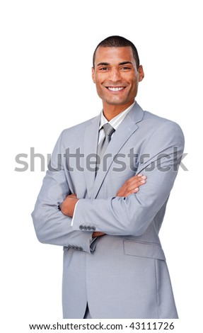Attractive afro-american businessman with folded arms against a white background