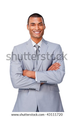 Attractive Afro-american businessman with folded arms isolated on a white background
