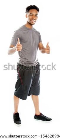 Attractive afro-american man posing in a  studio isolated on a background - stock photo