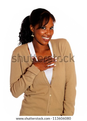 Attractive afro-american woman looking at you on isolated background