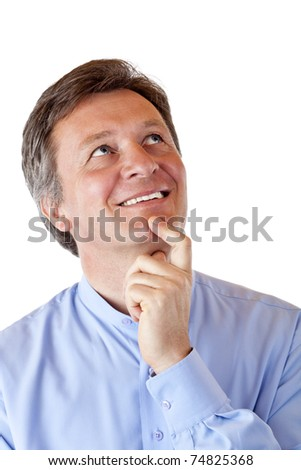 Attractive, aged man looks positive contemplative in the air. Isolated on white background. - stock photo