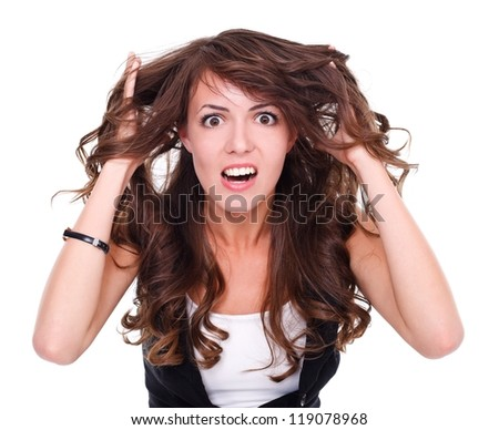 Attractive angry woman over white background - stock photo