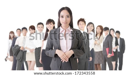 Attractive Asian business woman and her team. - stock photo