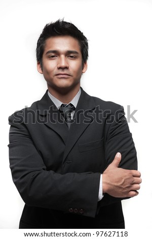 Attractive asian businessman doing different poses - stock photo