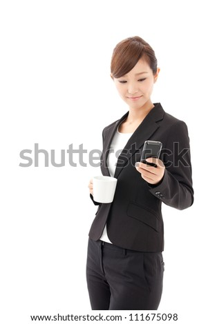 attractive asian businesswoman using smart phone on white background - stock photo