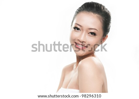 Attractive asian girl face for beauty products - stock photo