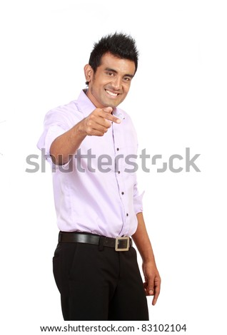 Attractive asian man pointing isolated on white background - stock photo