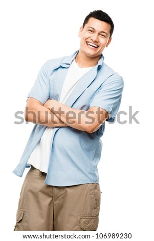 Attractive Asian man smiling on white background - stock photo