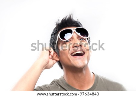 Attractive Asian Man With Sunglasses and Expression - stock photo