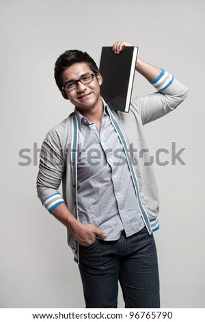 Attractive asian student going for school and doing activities - stock photo