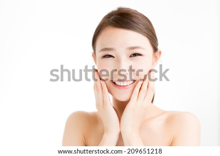 attractive asian woman beauty image on white background - stock photo