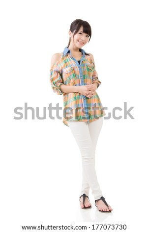Attractive Asian woman, full length portrait on white. - stock photo