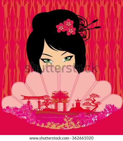 attractive asian woman holding traditional fan  - stock photo