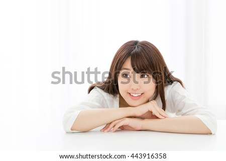 attractive asian woman relaxing  - stock photo