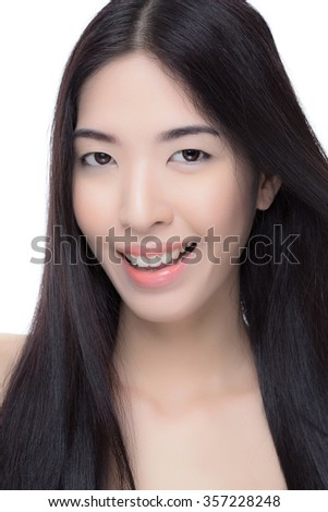 Attractive asian woman skin care image on white background.