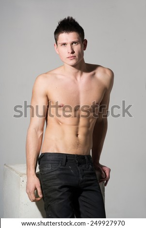 Attractive athletic man, naked torso