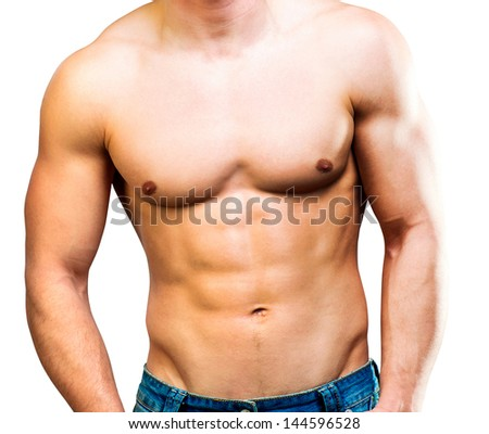 attractive athletic man torso on a white background