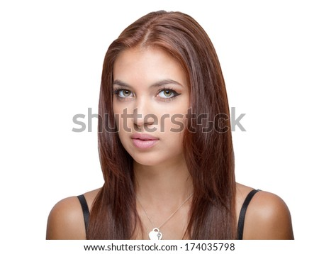 Attractive auburn hair color model head shot ideal for illustrations, beauty and fashion and other concepts.