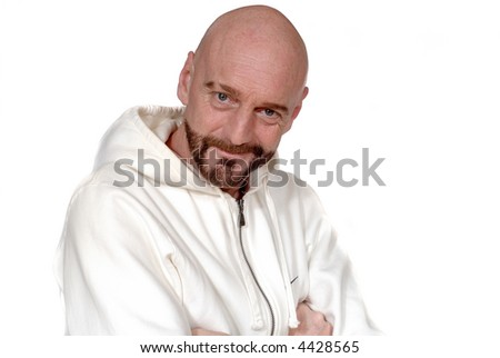 Attractive bearded middle aged man with sports outfit, smiling, fitness concept