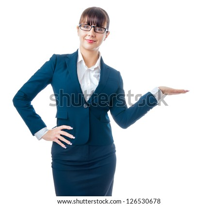 Attractive beautiful business woman present something, isolated on white - stock photo