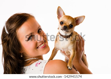 Attractive beautiful woman and chihuahua, white background - stock photo