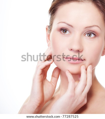Attractive beauty woman portrait on white background - stock photo