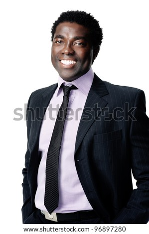 attractive black business man portrait - stock photo