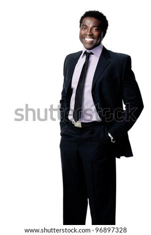 attractive black business man portrait - stock photo