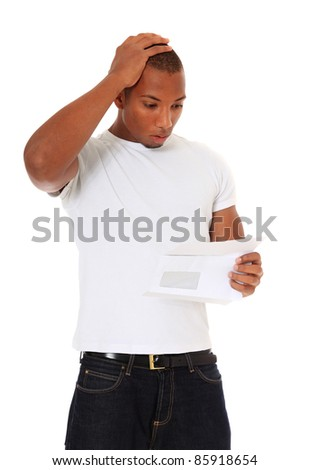 Attractive black gets shocking news. All on white background. - stock photo