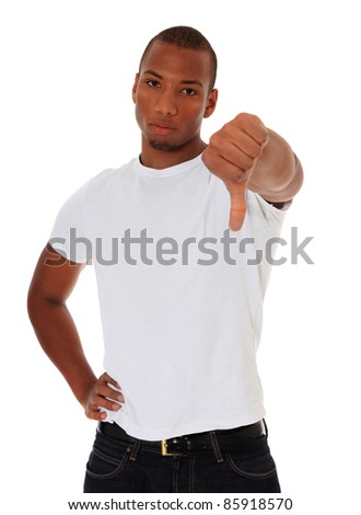 Attractive black showing thumbs down. All on white background. - stock photo